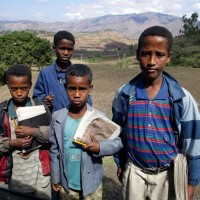 Elementary school students in Ethiopia