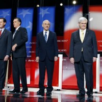 Republican presidential candidates prior to their debate in Concord, N.H.