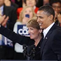 Obama and attorney General Martha Coakley in Boston